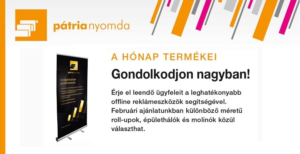 Pátria Nyomda hónap termékei