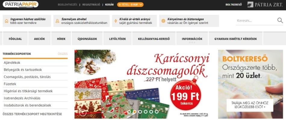Elindult a Pátria Papír webáruház - www.patriapapir.hu